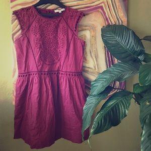 Loft raspberry-color summer eyelet dress (MP)